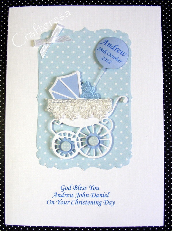 Christening Card Ideas To Make Part - 26: PERSONALISED New BABY Card HANDMADE Pram With Lace Congratulations Birth.  Christening Or Baptism Gingham Or