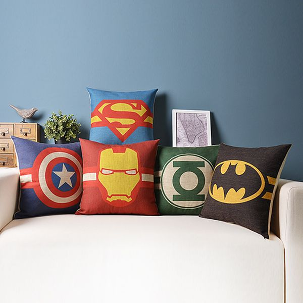 Superhelden posters- 5pcs/lot superman batman green lantern 45cm* 45cm linnen sofa, kantoor kussensloop, decoratieve kussenhoezen