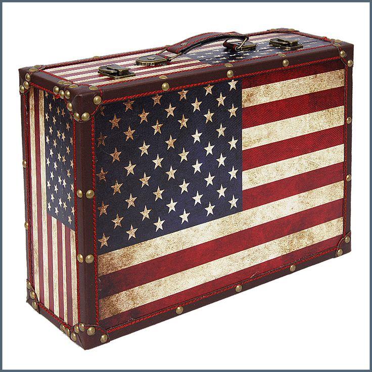Amerikai zászló mintás fa bőrönd (Kicsi méret) ― Hepi otthon