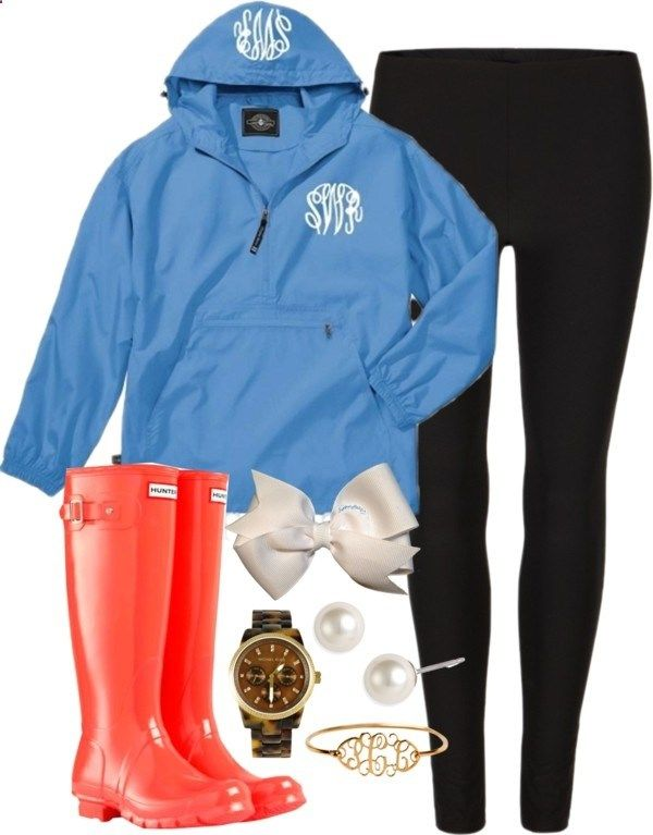 Rain by classically-preppy liked on Polyvore Love the red hunter boots and the monogrammed rain jacket!!!!