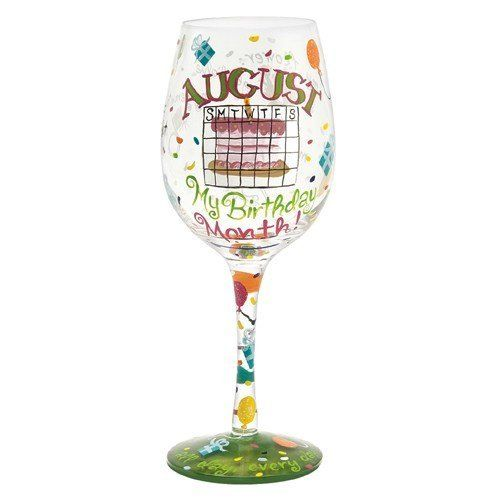 Lolita Love My Birthday Month Wine Glass, August by Santa Barbara Design Studio Kitchen. $24.99. Carefully hand painted with vibrant colors and embellishments, each month's gemstone and flower are featured on one side of glass. Glasses ship in lolita's signature gift box, a distinctive round box with a lid that cushions the glass for storage. Gentle hand washing is recommended. Holds 15-ounce. Officially licensed lolita birthday month wine glass; why just one day? celebrate...