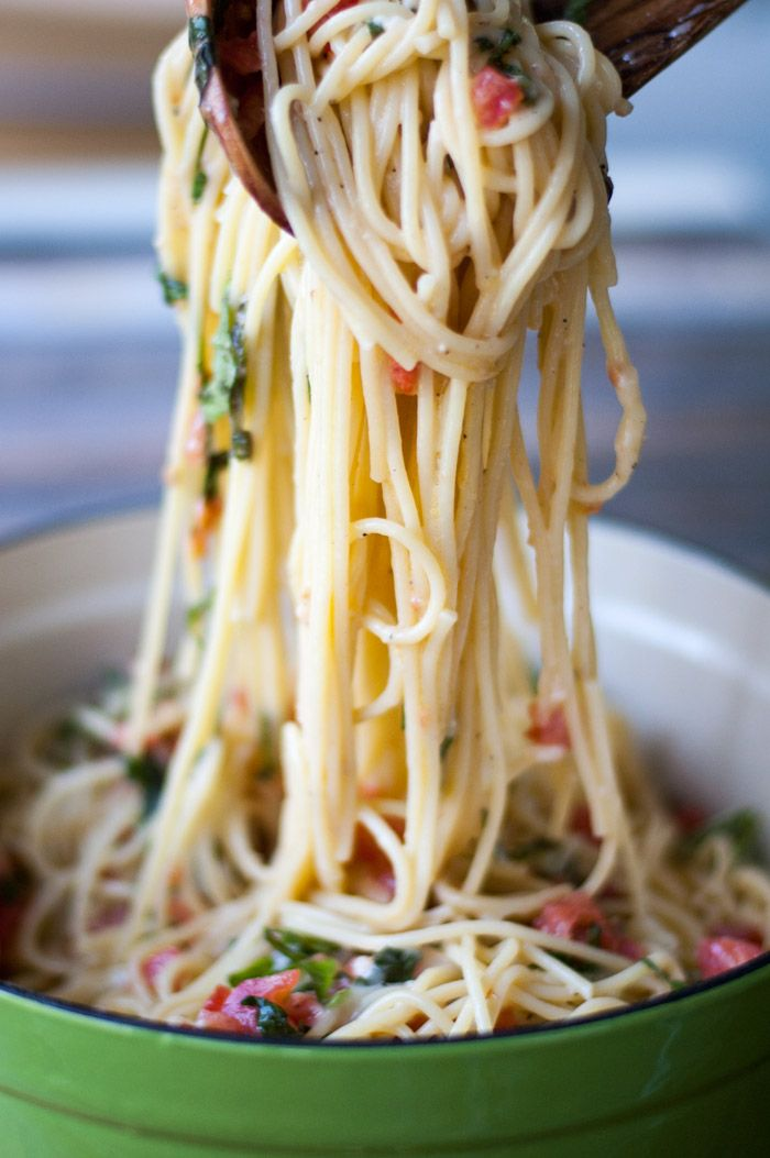 Spaghetti With Brie, Tomato, And Basil - One of my favorite and most requested recipes! thekitchensnob.com #easy #pasta