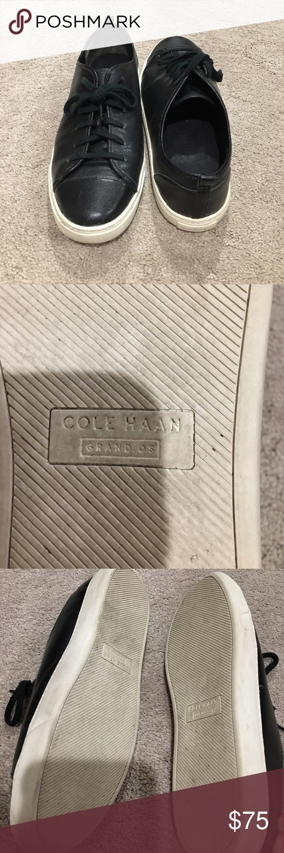 Cole Hann Black Sneakers Bowling Shoe Only worn once. Great condition. Comfortable fit. One small scuff of the front left toe, easily fixed (pictured). Leather. Cole Haan Shoes Sneakers