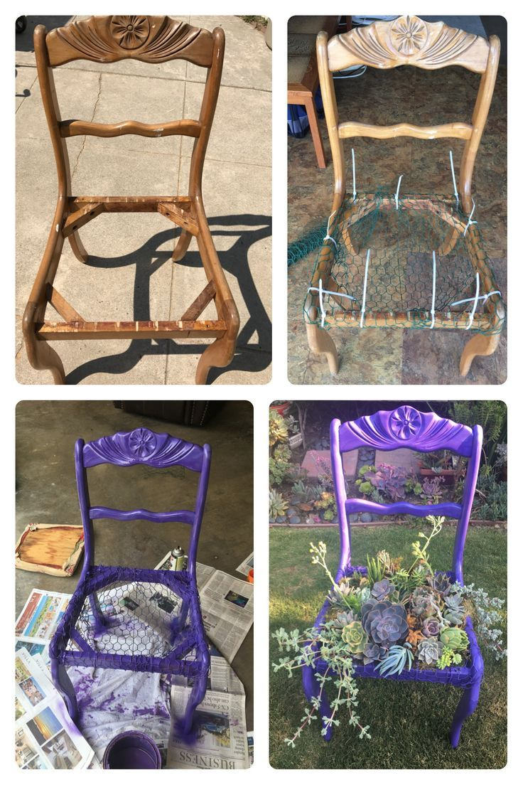 Before and after chair with succulents