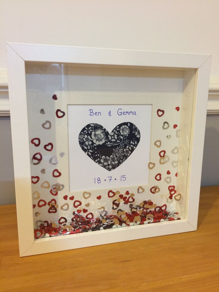 DIY wedding present. IKEA Ribba frame, some card, fabric and confetti