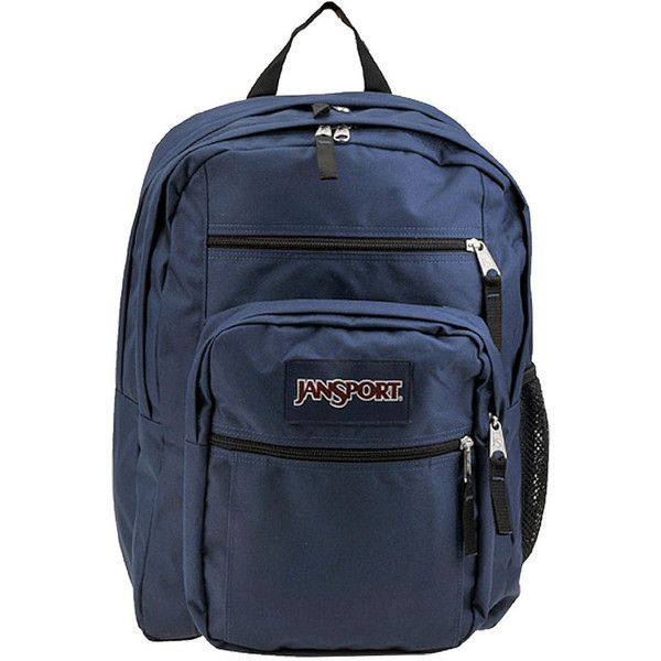 JanSport Big Student Backpack Navy Bags ($48) ❤ liked on Polyvore featuring bags, backpacks, navy, navy backpack, navy rucksack, navy blue bag, jansport backpacks and utility bag
