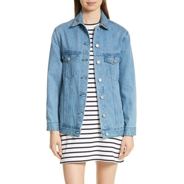 Women's Etre Cecile The Real Live Bunch Oversize Denim Jacket (305.465 CLP) ❤ liked on Polyvore featuring outerwear, jackets, light blue, light blue jacket, light blue jean jacket, embroidered jean jacket, slouchy jacket and light blue denim jacket