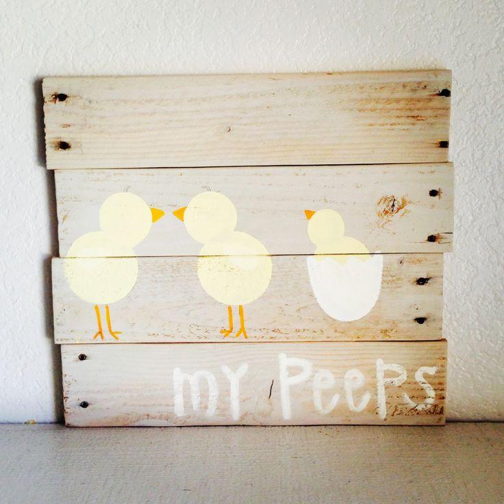 Pallet Wall Art Decor Easter Peeps Chicks by ShopRusticAtHeart, $25.00