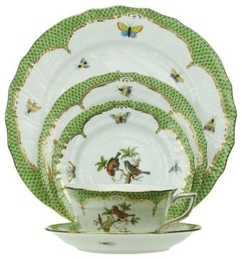 Herend Rothschild Bird Green Border 5-Piece Place Setting traditional-dinnerware-sets