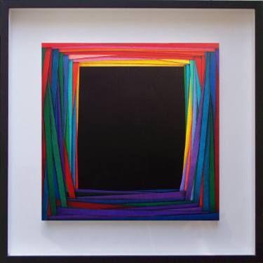"Teatrino by Luciano de Liberato; acrylic on canvas, 18.5 H x 18.5 W x 1.6""   Saatchi Art"