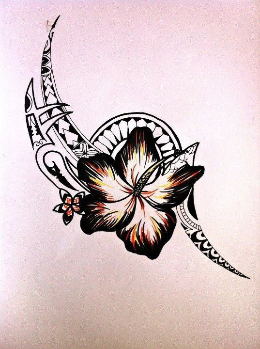 ♢ In love with the flower more than anything. Tribal tattoo with flower                                                                                                                                                                                 More