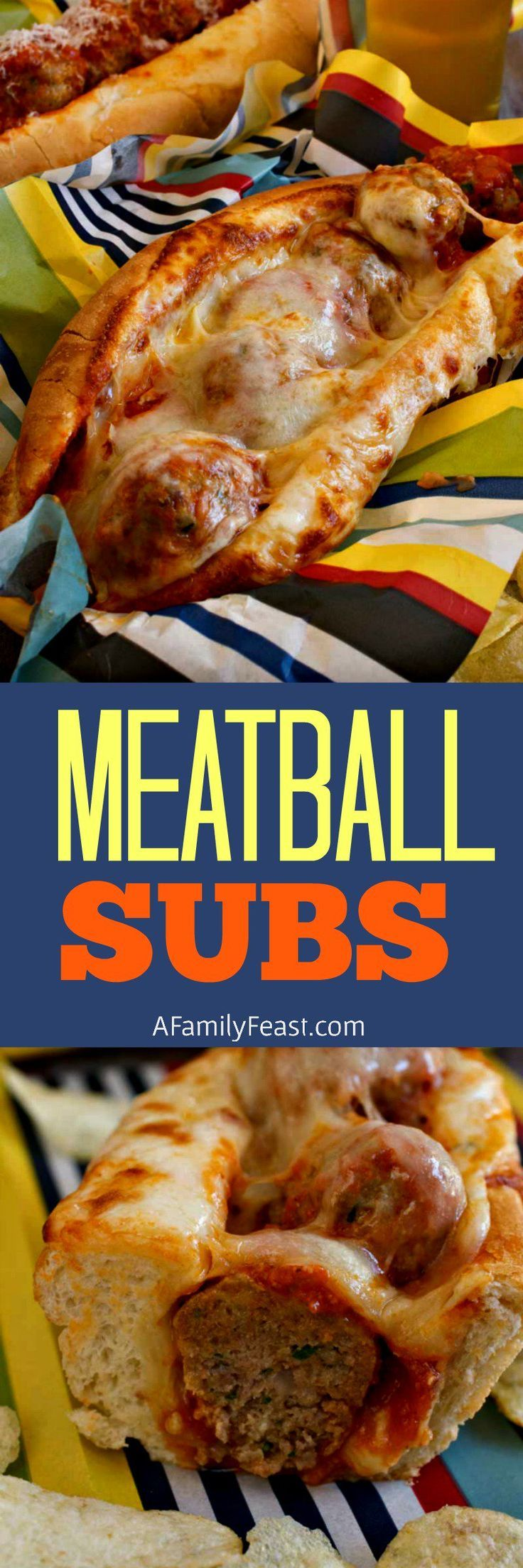 Meatball Subs are a great way to feed a hungry crowd on game day! Made with the most flavorful, tender meatballs ever, smothered in marinara sauce and cheese!