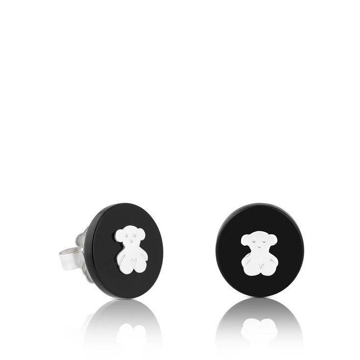 Sterling silver TOUS Confeti earrings with onyx