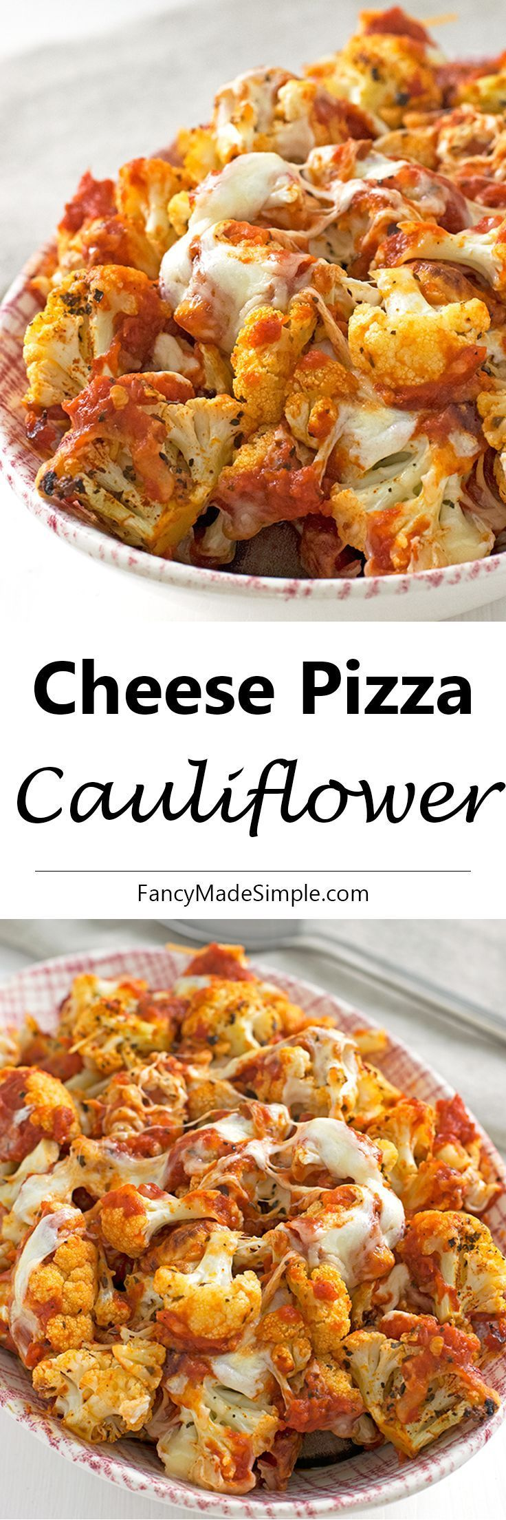 This cheese pizza cauliflower is unbelievably amazing. It's so fast and easy to make. Your family will have this gobbled up before it even hits the table! #cauliflower #pizza #sides #recipes