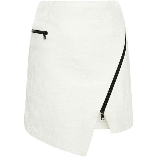 Jonathan Simkhai Wrap Zip Mini Skirt ($695) ❤ liked on Polyvore featuring skirts, mini skirts, asymmetrical leather skirt, mini skirt, leather skirt, white leather skirt and white wrap skirt