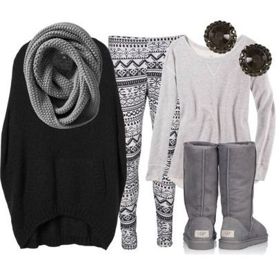 Gray and black winter outfit; Cute leggings, everything else is in stock in the closet, not so hip on the earrings but, LOVE the rest! ~RP~