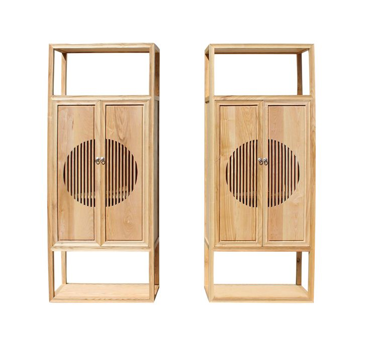 Chinese Light Natural Raw Wood Shutter Doors Bookcase Display Cabinets - a Pair on Chairish.com