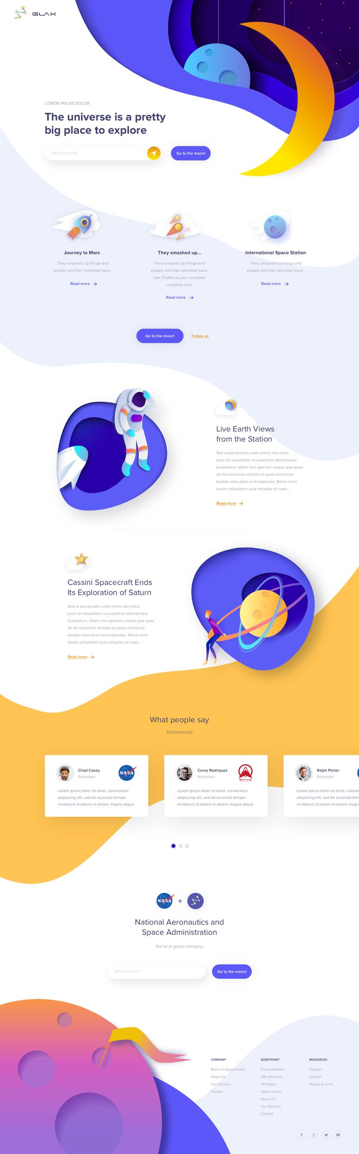 Glax - Landin Page exploration for kids. Ui concept and design by Outcrowd.
