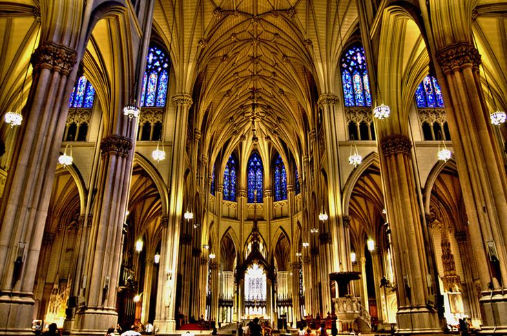 st. patrick's cathedral. This historic cathedral that began construction 1858 is located in midtown Manhattan and boasts beautiful stained glass, organs with a total of 9,838 pipes, and a massive vaulted ceiling. Guided tours are free of charge.