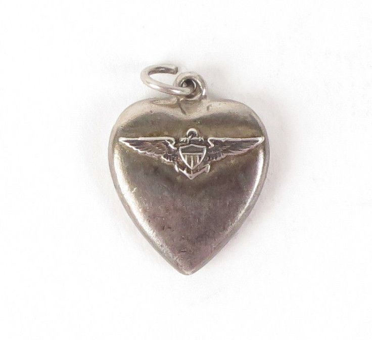 Vtg puffy heart charm sterling silver Naval Aviator wings military US navy WWII #navy #navalaviator #puffyheart