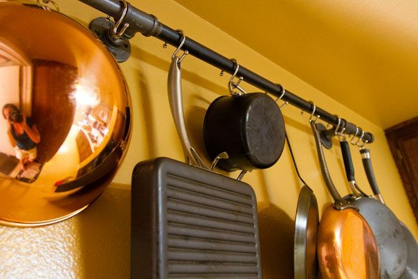 Easy, industrial-chic pot rack solution !