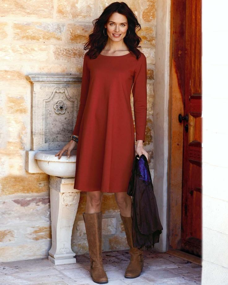 All-Seasons Long-Sleeve Pima Dress