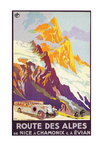 poster affiche satin e route des alpes nice chamonix evian vintage tourisme ebay affiches. Black Bedroom Furniture Sets. Home Design Ideas