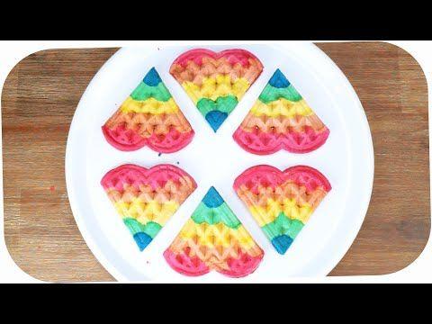 How to Make RAINBOW WAFFLES! Easy Rainbow Waffle Recipe - Regenbogen Waffeln backen - Waffel Rezept - YouTube