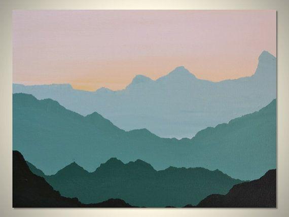 Sierra Original Mountain Silhouette Landscape by gilliansarah, $95.00