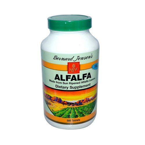 Our new alafalfa tablets are now 9 grain size. this means that when taking the suggested serving size of 5 tablets, you will be getting 2950 mg of alfalfa leaf powder rather than 2750 mg. made from sun ripened alfalfa leaves. Eight pounds of fresh premium alfalfa leaves are used to produce one... more details at http://supplements.occupationalhealthandsafetyprofessionals.com/herbal-supplements/alfalfa/product-review-for-bernard-jensen-alfalfa-leaf-tablets-500-tab/