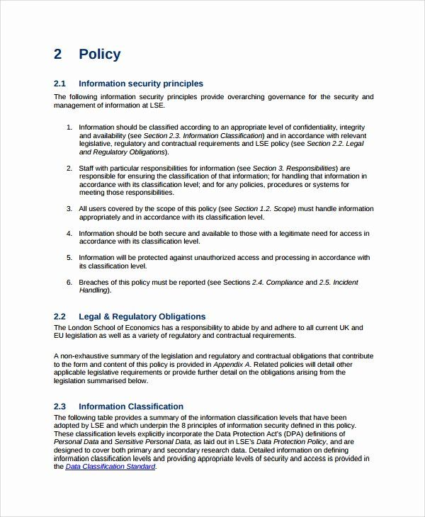 Information Security Plan Template In 2020 Policy Template It