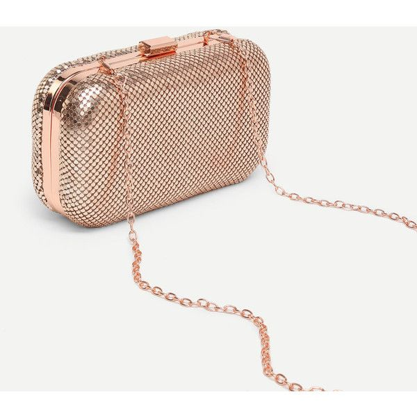 Metallic Clutch Bag With ChainFor Women-romwe ❤ liked on Polyvore featuring bags, handbags, clutches, metallic clutches, white purse, white clutches, metallic purse and metallic handbags