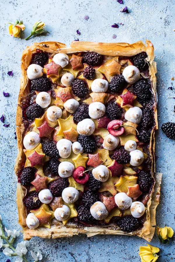 Honey Butter Stone Fruit and Blackberry Meringue Tart | Half Baked Harvest