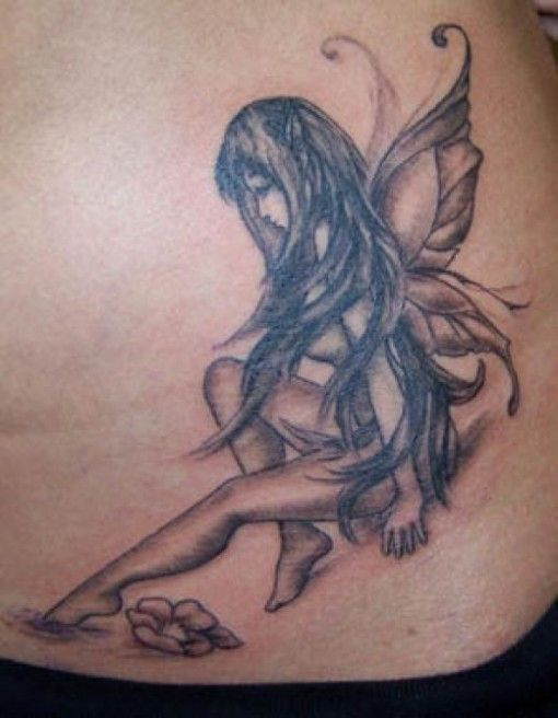 Fairy Angel Grey Ink Tattoo On Side