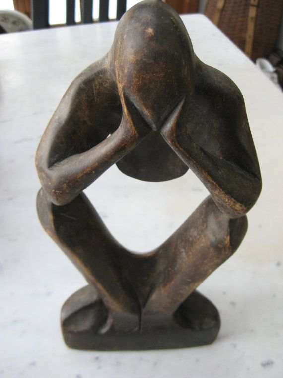 Vintage Wooden Thinking Man Statue by VintageByThePound on Etsy, $65.00