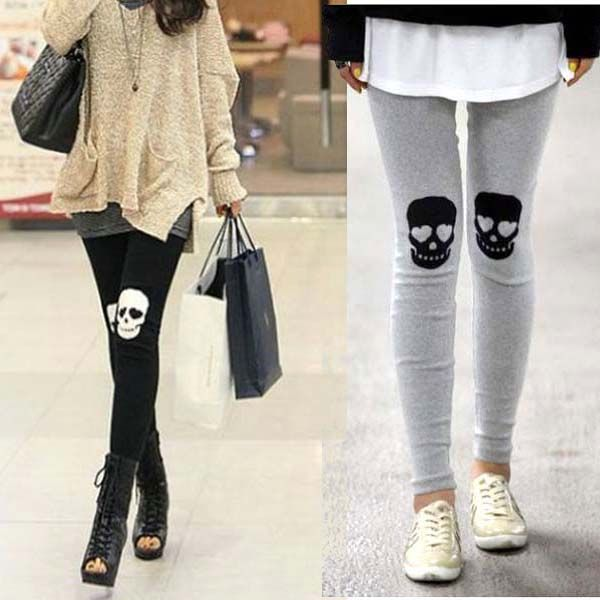 CoolMall Cool Fashion Women Lady Girl Fitness Sexy Skull Skeleton Spandex Stretch Pants Leggings