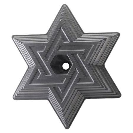 Features:  -Non-stick surface.  Color: -Grey.  Material: -Aluminum.  Country of Manufacture: -United States.  Material Details: -Cast Aluminum.  Holiday Theme: -Yes.  Holiday: -Hanukkah. Dimensions: