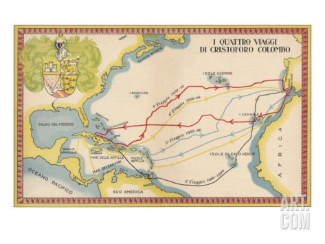 real and true pictures of christopher columbus printable | The Four Voyages Of Christopher Columbus Print