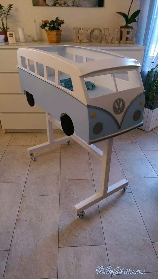 VW Bus Cot. Awesome to deck the whole nursery in combi gear