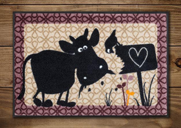 #Fussmatte mit Kuh Erika und #Vogel Fred.