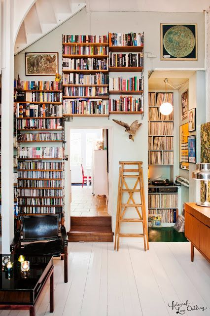 An artistic and colorful book room