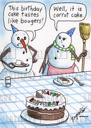 Snowman's carrot cake tastes like boogers