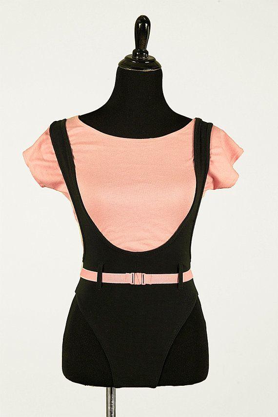 Vintage 80's Marika pink & black dance leotard with suspenders by piscesvintage, $18.00