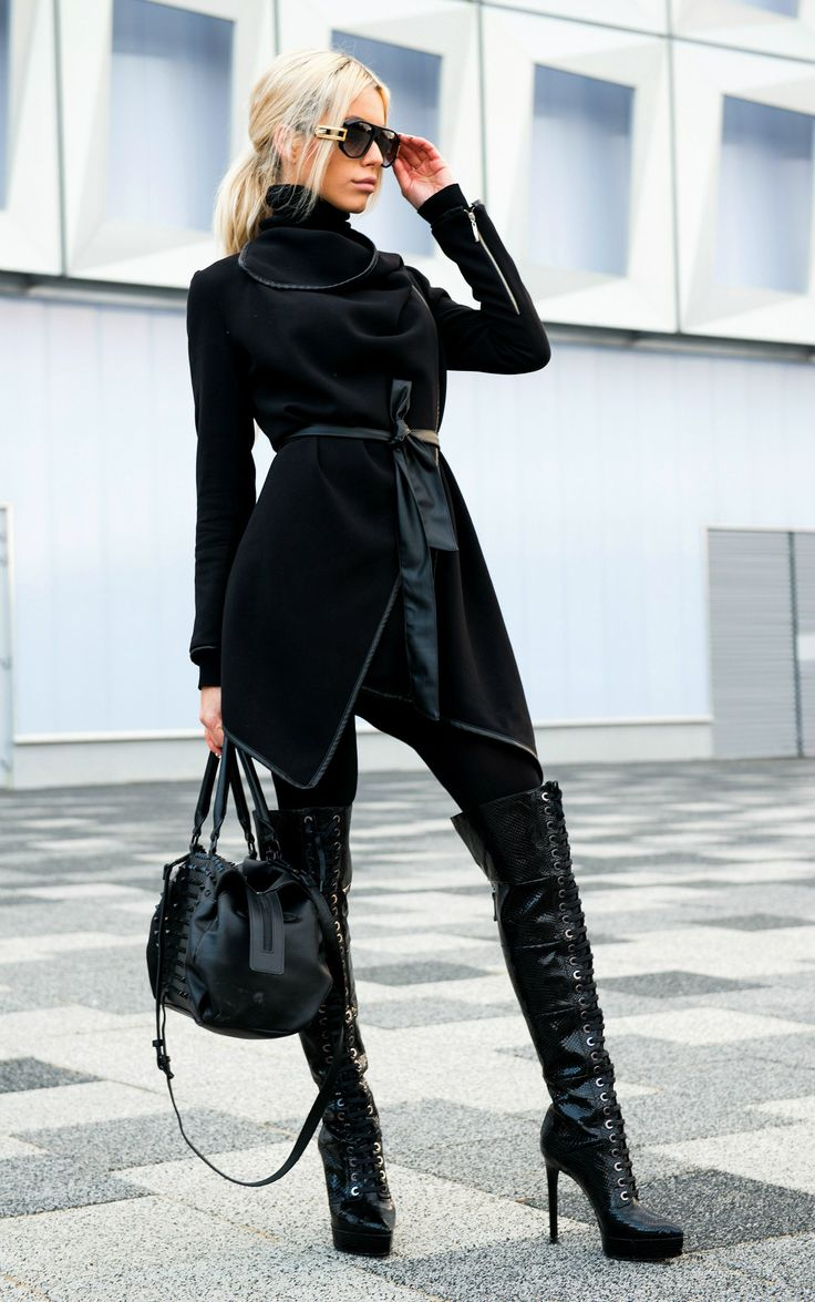 Carmen Grebenisan in Marzo Black Manba Over The Knee Laced Boots.