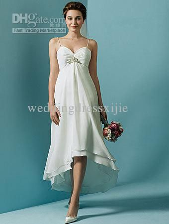 Wholesale Short Beach Wedding Dresses Informal Bridal Gowns Chiffon  Spaghetti Strap Empire Hi Lo Elegant