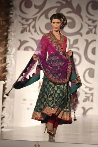 Pink and green Anarkali Salwar kameez
