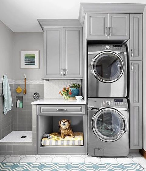 Obsessed with this amazing laundry room from @thisoldhouse.   I would love to have a built-in dog bath/shower and how fun is the little pet nook?!  We're sharing loads of creative laundry room spaces on the blog today along with some great storage/organizing pieces to slip in to make laundry time a little easier. Link in profile. Source:This Old House, Artistic Renovations Ohio, Photography: Ricky Rhodes #laundryroom #getorganized #designinspo #designinspiration