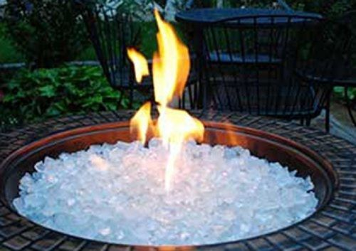 Fire Pit Glass Rocks For Outdoor Propane Gas Fireplace White Ice Crystals 10 Lbs Glass Fire Pit Fire Glass Gas Fire Pits Outdoor Gas fire pit glass rocks