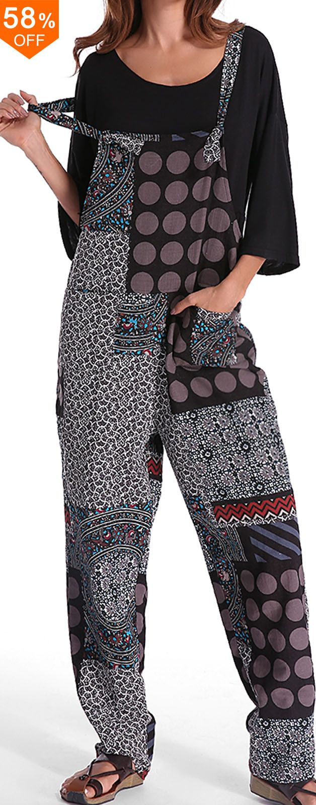 Gracila Casual Women Polka Dot Printed Loose Patchwork Pocket Jumpsuits.Casual S... 1