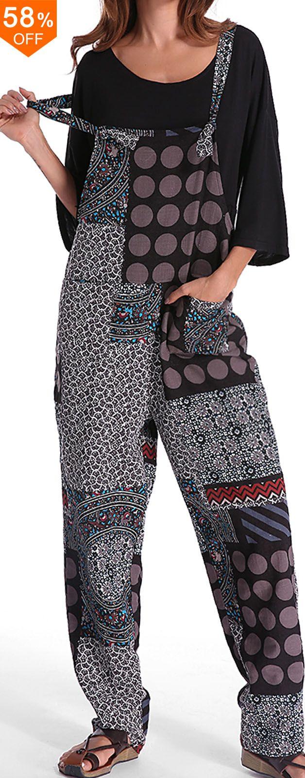 Gracila Casual Women Polka Dot Printed Loose Patchwork Pocket Jumpsuits.Casual S... 13